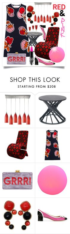 """""""Cleaning up drafts: Red and Pink"""" by capricat ❤ liked on Polyvore featuring ELK Lighting, Baxton Studio, Victoria, Victoria Beckham, Edie Parker, DOMINIQUE AURIENTIS, Salvatore Ferragamo and MAC Cosmetics"""