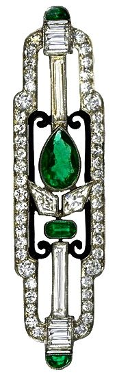 Art Deco Platinum, diamond & emerald brooch by Cartier