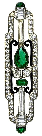 CARTIER Art Deco Platinum, Diamond & Emerald Brooch