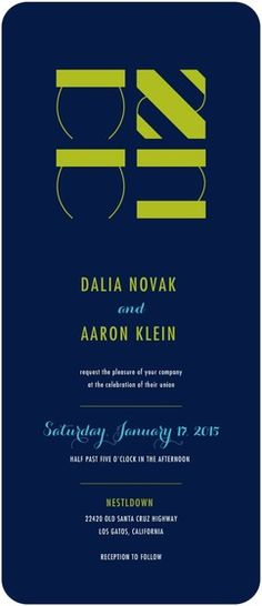 This Jewish wedding invitation features bold fonts and bright colors. Find more Jewish wedding invitations, save the dates, and more at www.WeddingPaperDivas.com