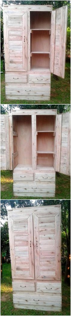 This is another fascinating and modern design of wooden pallets closet. This project is not only good to place in bedroom area but you can also utilize this pallet idea as a wonderful pallet kitchen cabinet in your kitchen. The upper section is quite spacious and the lower drawers are making this project a perfect one. #pallets #woodpallet #palletfurniture #palletproject #palletideas #recycle #recycledpallet #reclaimed #repurposed #reused #restore #upcycle #diy #palletart #pallet #recycling