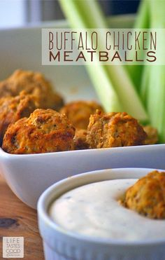 Buffalo Chicken Meatballs   by Life Tastes Good are easy to make and perfect when you need delicious party food. I love the buffalo chicken wing flavor in these meatballs! They are the perfect appetizer for spicing up your holiday parties! #SeasonedGreetings