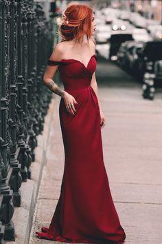 Charming Mermaid Off the Shoulder Burgundy Long Prom Dress 5cb1e35fd