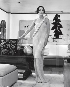 Mary McFadden in her own Fortuny inspired Grecian gown, by Horst P. Horst | The House of Beccaria