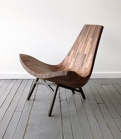 BELLBOY, a collaborative wood shop based in Brooklyn, made a lounge chair from the reclaimed timber of a New York City water tower. Modern Furniture, Furniture Design, Geometric Furniture, Natural Furniture, Italian Furniture, Furniture Chairs, Bespoke Furniture, Traditional Furniture, Plywood Furniture