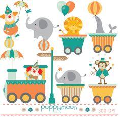 Zirkus Zug digital Clip-Kunst-Satz von poppymoondesign auf Etsy