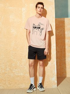13.00$ Pink Pastel Casual Short Sleeve Animal Letter Fabric has some stretch Summer Men T-Shirts & Tanks, size features are:Bust: ,Length: Regular ,Sleeve Le...