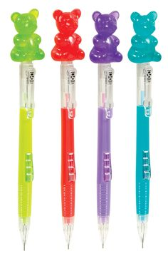 Raymond Geddes Scented Gummy Bear Mechanical Pencils, 24 Pack Scented gummy bears top this colorful mechanical Pencil! check out our other great Raymond Geddes supplies and accessories as well! Best Mechanical Pencil, Mechanical Pencils, Middle School Supplies, Cute Pens, School Stationery, Gummy Bears, Gel Pens, Stickers, Gifts For Kids