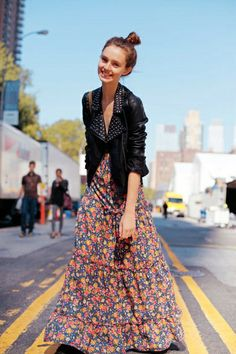 Floral Maxi   Leather Jacket