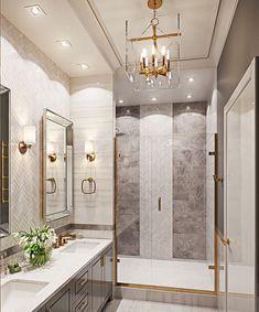 Bathroom decor, Bathroom decoration, Bathroom DIY and Crafts, Bathroom home design Bathroom Interior Design, Decor Interior Design, Interior Decorating, Decorating Bathrooms, Decorating Ideas, Gold Interior, Home Design, Dream Bathrooms, Beautiful Bathrooms