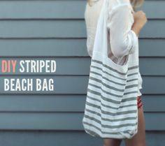 DIY striped beach bag