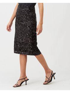 Warehouse Velvet Sequin Midi Skirt - Black | littlewoodsireland.ie Black Midi Skirt, Lace Skirt, Sequin Skirt, High Leg Boots, Long Toes, Strappy Heels, Dress Outfits, Fitness Models, Sequins