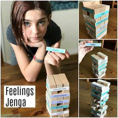 This Jenga Feelings Game or Therapy Game is perfect for parents, teachers or therapists to use to help kids talk about their emotions and experiences. Science Activities For Kids, Sensory Activities, Sensory Play, Group Activities, Babysitting Kit, Therapy Games, Art Therapy, Trauma Therapy, Occupational Therapy