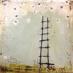 """""""Ladder to the stars"""", by Stephanie Lee  6"""" x 6"""" x 1,5""""  plaster, acrylic, beeswax on wood"""