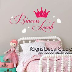 PRINCESS WALL DECAL Custom Name Decal Girls by iSignsDecalStudio, $32.00