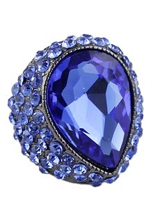 Blue Gemstone Retro Silver Diamond Ring 5.93