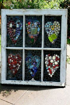 Pretty in the Sun - For the Home, Garden , Balcony , Patio or Pathway. ART for an OLD WINDOW , Glue FLAT bottomed Glass Stones onto Glass in the Frame . Your choice of designs and colours... (Glass stones, marbles and pieces with flat bottoms can be found at $$ Stores and Craft Stores ) .... Click for a , LARGE  , View.