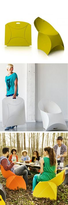 Flux Origami Chair - folds flat for easy storage @Sophie Nelson