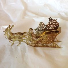 """3-D Santa in Sleigh Gold Plated Christmas Ornament Collectible 4"""" with Reindeer"""