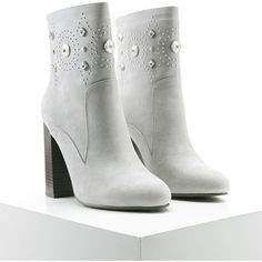 Forever21 Faux Suede Embellished Boots ($24) ❤ liked on Polyvore featuring shoes, boots, ankle boots, grey, gray high heel boots, faux suede ankle boots, short high heel boots and faux suede boots