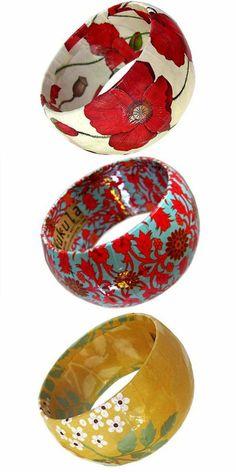 Papier Mache Bangles by Kukula Designs - Pretty Paper Things Paper Mache Projects, Paper Mache Clay, Clay Art Projects, Paper Mache Crafts, Paper Jewelry, Paper Beads, Diy Jewelry, Diy Paper, Paper Art