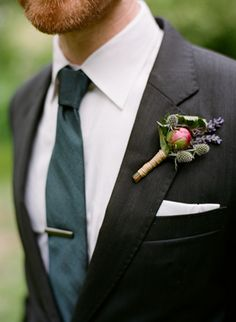 Bartram Gardens Outdoor Wedding... www.oncewed.com  charcoal grey suit with a color pop boutonniere
