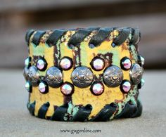 Shop now at www.gugonline.com! KurtMen Designs Leather Cuff Bracelet-Turquoise and Yellow Tooled Leather with Charcoal and AB Studs Trimmed in Black