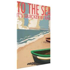 To The Sea - Travel By Rail Vintage Poster Stretched Canvas Prints