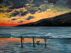 Maui Sunset oil painting hawaiian beach ocean hawaii tropical landscape paddle boarders sup pup dog mountain CANVAS PRINT of original