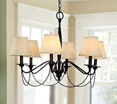 "PB Basic Silk Chandelier Shade, Set of 3 #potterybarn  6"" diameter, 5"" high  100% silk.  Fitted with clips that work with any 25-watt chandelier bulb.  Sold as a set of 3. $59"