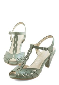 Trip the Light Heel in Sage. Your friends will follow in your fashionable footsteps when you wear these retro-influenced Seychelles heels.  #wedding #modcloth