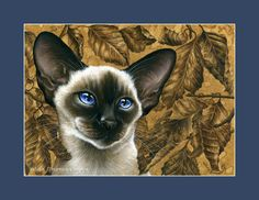 Siamese Cat Print Winter Rosehip by I Garmashova