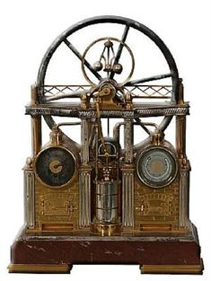 French industrial steam clock and barometer (circa 1890), with clean gilt and silvering throughout on a rouge marble base