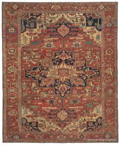 Serapi, 9ft 11in x 12ft 2in, Late 19th Century. This dynamic 19th century Persian Serapi carpet captivates with a monumental medallion that seems almost hidden among many smaller stylized motifs, yet nearly fills the width of the reserve. The horizontality of the design is perfectly balanced by expressive and imaginative large-scale pendants, each holding delicate, diminutive blossoms within.