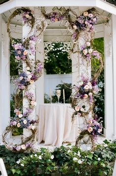 Garden Wedding Ceremony - Pink and Purple Flowers on Gazebo | Photo by @jennabrie, Flowers by the Enchanted Florist, Garden Wedding in Nashville at CJ's Off the Square