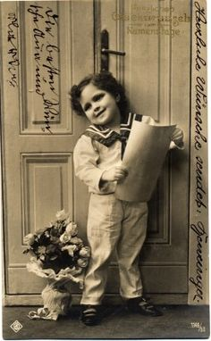 Boy Fashion in 1910, Sailor Suit Vintage and retro sailor costume of german boy. Greeting card