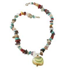 Handcrafted African Necklace with Colorful Agates - Praises | NOVICA