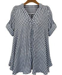 Casual Stand-Up Collar Short Sleeve Plaid Loose-Fitting Blouse For Women (WHITE AND BLACK,2XL) | Sammydress.com Mobile