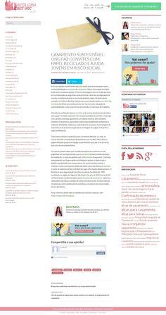 Título: Casamento sustentável. Veículo: Blog Quem Casa Quer Site. Data: 18/06/2014. Cliente: Instituto Reciclar.
