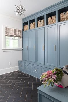 Blue mudroom lockers
