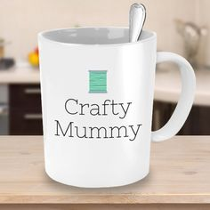Crafty Mummy with Green Spool of Thread - Crafty Coffee Mug - Crafts & DIY Lover Gift Idea #etsy #etsyseller #etsyshop #coffee #coffeemugs #giftideas