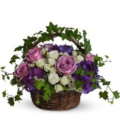 Send get well flowers from a real Baltimore, MD local florist. House of Arnold Florist has a large selection of gorgeous floral arrangements and bouquets. We offer same-day flower deliveries for get well flowers. Purple And White Flowers, Silk Flowers, Spring Flowers, Purple Hydrangeas, Lavender Roses, Deep Purple, Basket Flower Arrangements, Floral Arrangements, Ikebana