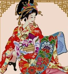 Japanese Geisha-Admiring the beautiful & colorful prints on the kimono  Stitch Count: 244 width x 306 height Design size: 18w x 21.5h inches on 14 ct 54 DMC Thread Colors, Cross Stitch & outline for details 16 pages pattern, red & black symbols. Sample Chart is shown.   ....oooo........................ooooo@@@@ooooo....................oooo........  CROSS STITCH PATTERN ONLY- PDF Downloadable; Ready-to-Print  NOT a KIT or FINISHED PRODUCT. .....oooo.........................oooo@@@@...