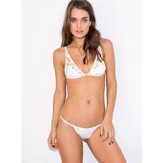 Somedays Lovin Coco Lace Bikini Bottom (420 ZAR) ❤ liked on Polyvore featuring swimwear, bikinis, bikini bottoms, white, white swimwear, bottom bikini, white lace two piece, lace bikini and swim bikini bottoms