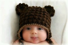Cute Crochet... Nice stitch for animal hats.