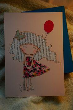 Niña con globo rojo Original ilustración mixta por lazydoll en Etsy