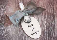 Spoon Ornament. Let It Snow. Hand Stamped Vintage Silverware. Christmas Decoration by The Faded Nest.