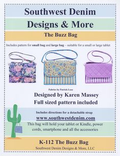 The Buzz Bag Tech Device Pattern by Southwest Denim Designs & More K-112 by happyvalleymercantil on Etsy