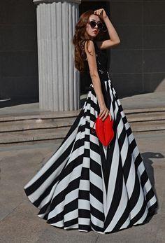 Women's Slim Big Swing Striped Lace Chiffon Dress