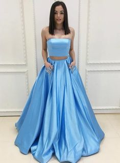 Chic 2 Pieces A-line Strapless Satin Simple Prom Dress Evening Dress AM913